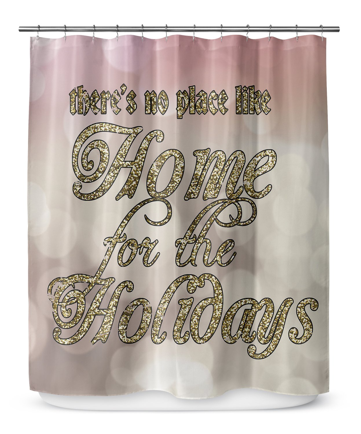 KAVKA Designs Home For The Holidays Shower Curtain, Gold//Pink//Tan - Size: 70x90 - PLUAVC2658LPLSC