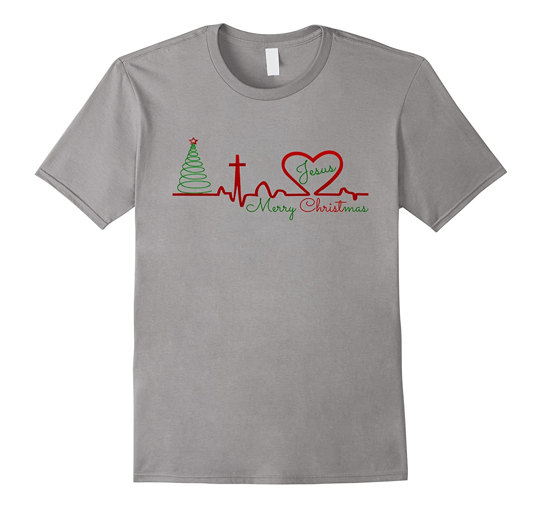 Christian Love Christmas Jesus Heartbeat Novelty T Shirt Top-ANZ