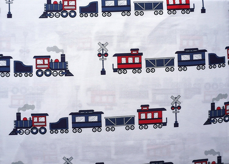 100% cotton - TRAINS TWIN SIZE Sheet Set