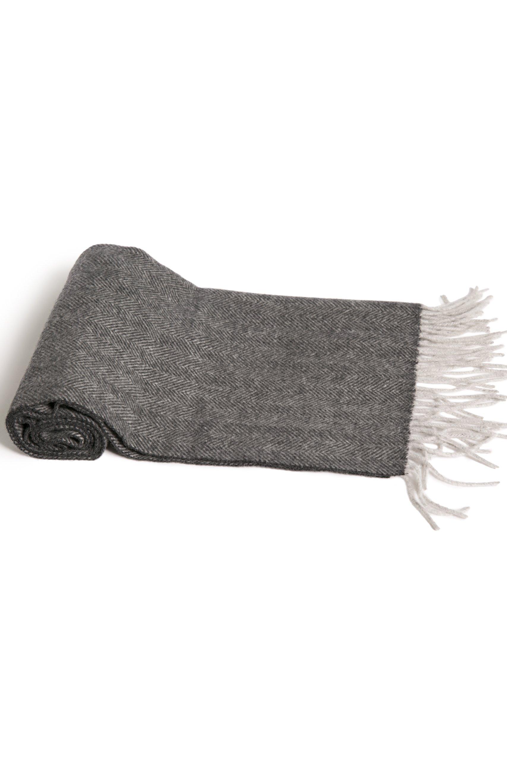 Fishers Finery Men's 100% Pure Cashmere Scarf; Super Soft and Warm (Herringbone)