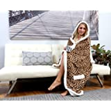 "Chic Home HS3308-AN Leopard Snuggle Hoodie 51 x 71"" Robe, Brown, Standard"