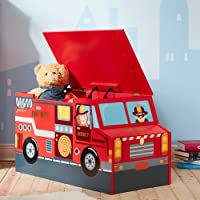 Fantasy Fields Little Fire Fighters Themed Kids Sturdy Wooden Toy Chest