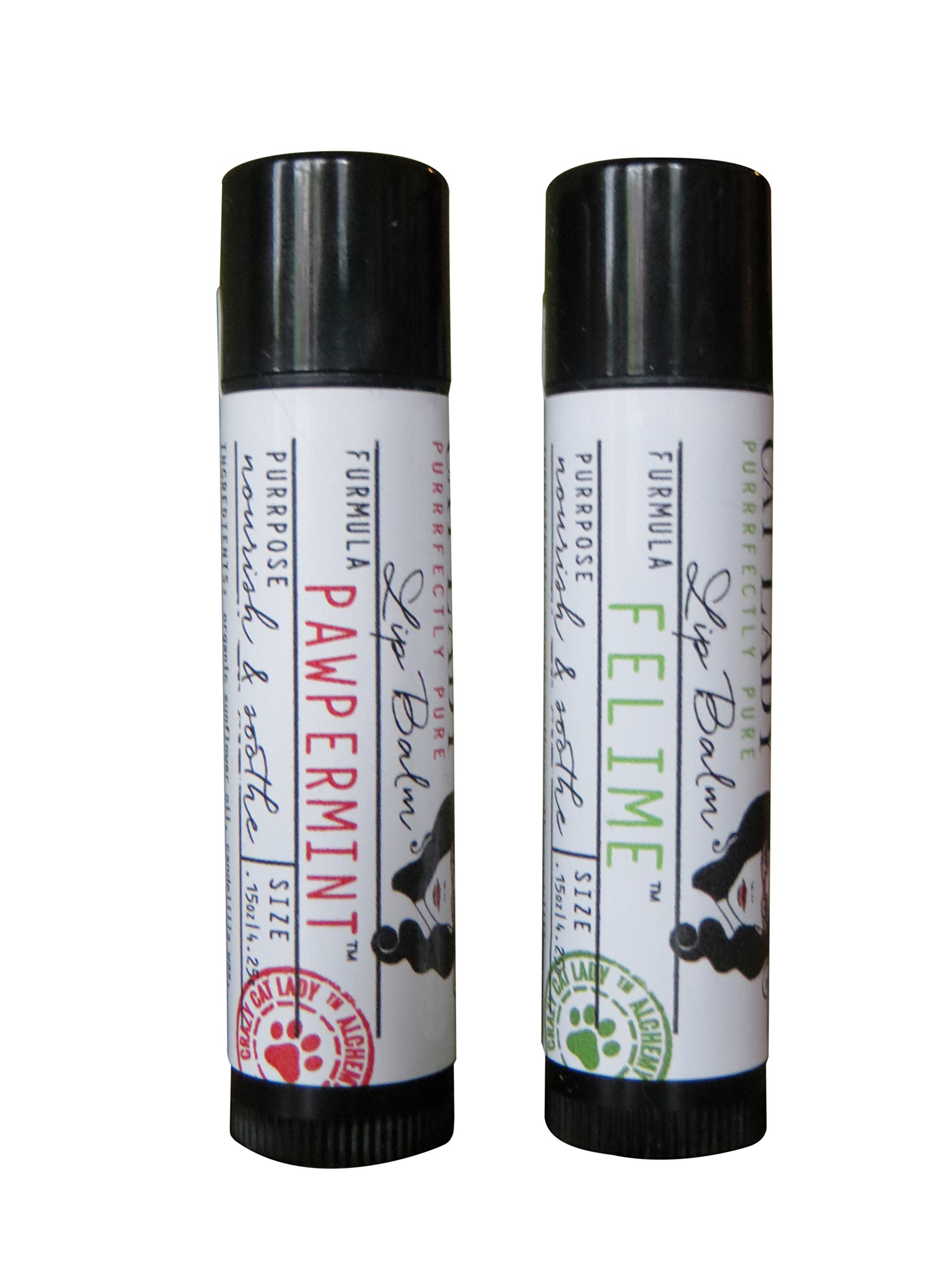 Crazy Cat Lady Vegan Lip Balm Set - Pawpermint and Felime Flavors