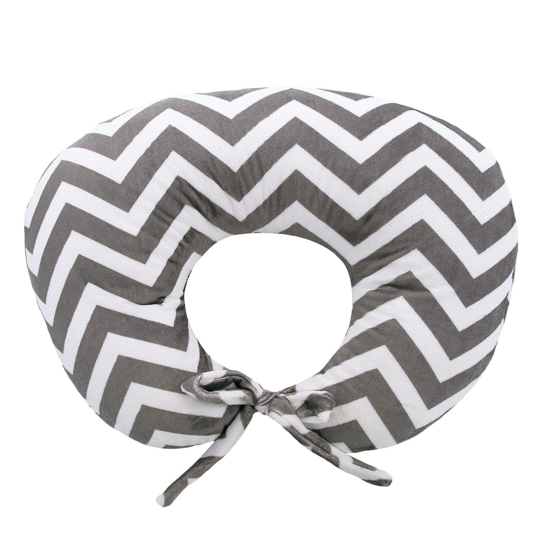My Blankee Nursing Pillow with Chevron Minky Slipcover, Charcoal, Small/Medium