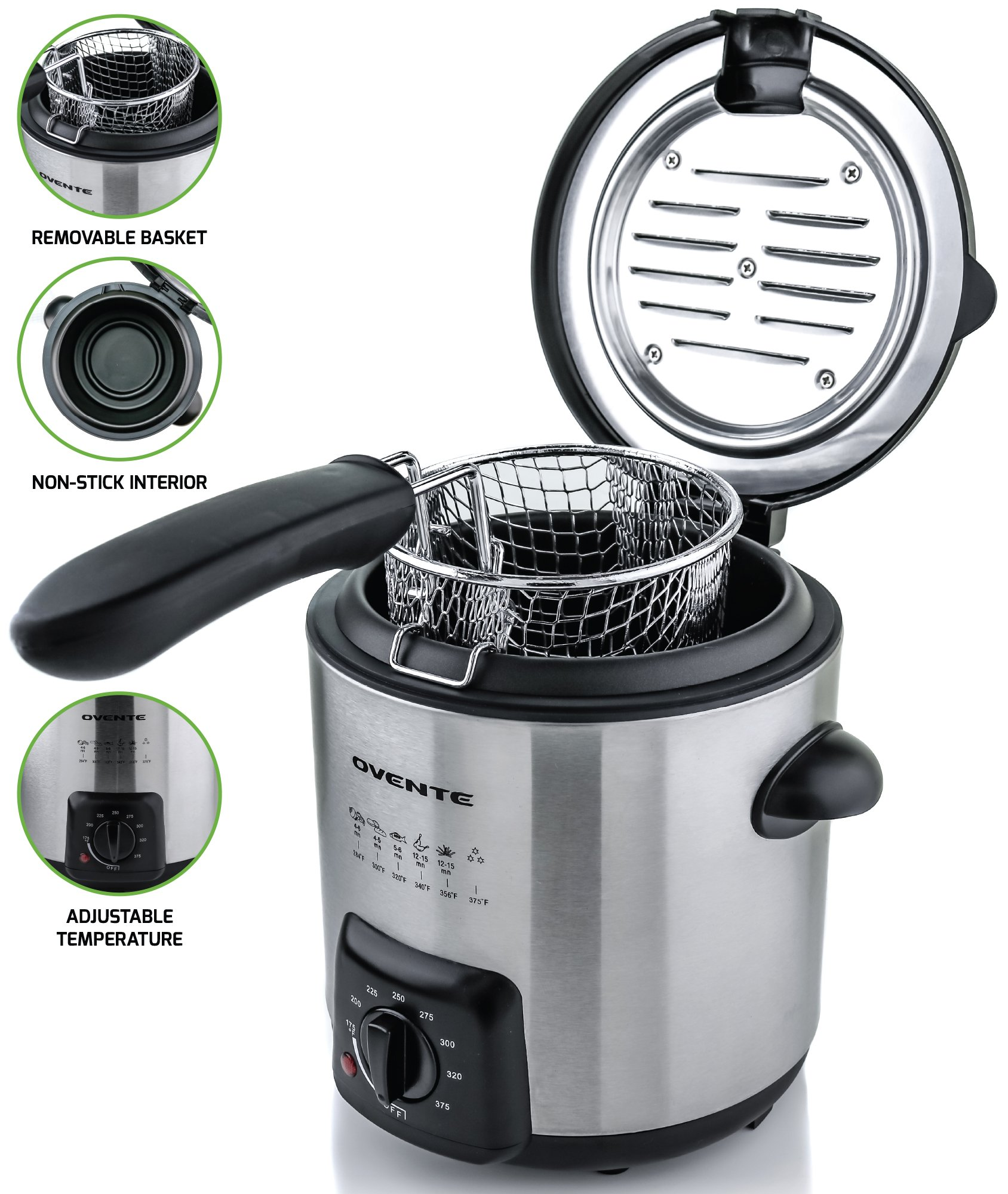 Ovente FDM1091BR Mini Deep Fryer with Removable Basket, Stainless Steel, Adjustable Temperature Control, Non-Stick Interior, Personal Size FDM1, Nickel Brushed