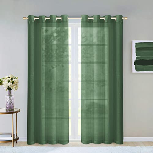 Dainty Home Malibu Textured Semi-Sheer Linen Look Grommet Top Curtain Panel Pair