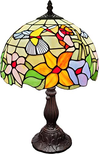 Amora Lighting Tiffany Style Table Lamp Banker 19 Tall Stained Glass Yellow Red Tan Floral Hummingbird Vintage Antique Light D cor Living Room Bedroom Office Handmade Gift AM1112TL12B, Multicolor