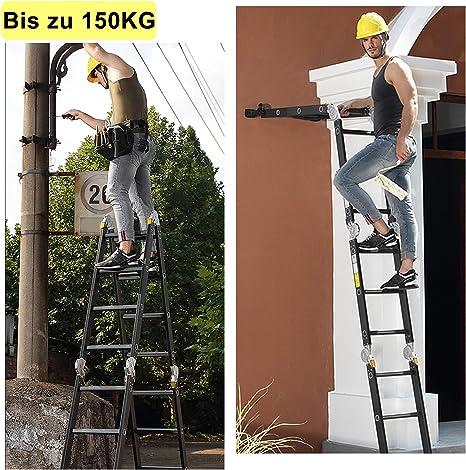 Asina Scala Multiuso 4.7M Domestica Scala in Alluminio Carico fino a 150kg Pieghevole 4x4 Gradini con 2 Piattaforma a per Ponteggi Scala Articolata Multifunzionale Nero