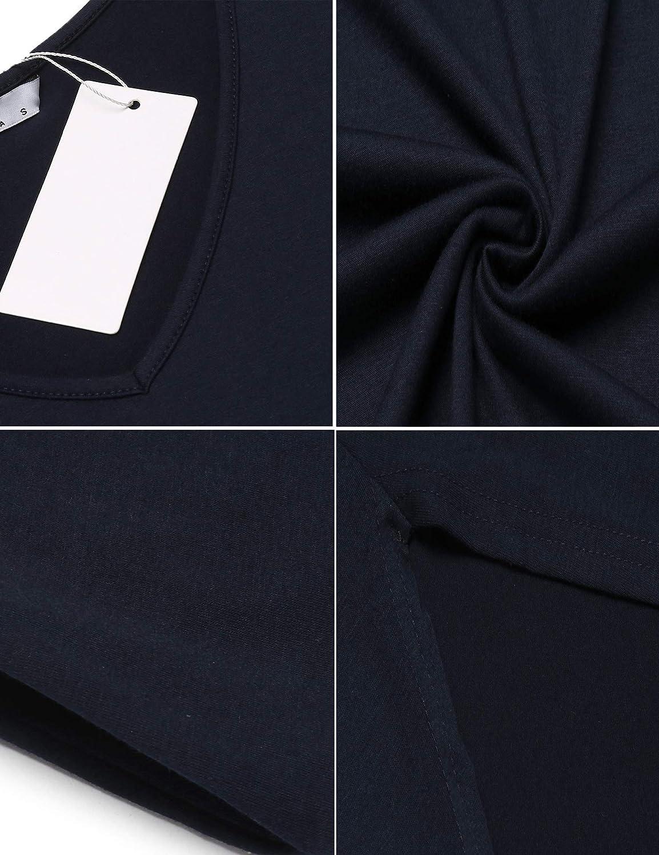 luxilooks Sleepwear Womens V Neck Long Nightgown Short Sleeve Loungewear Loose Length Casual Nightshirt S-XXL