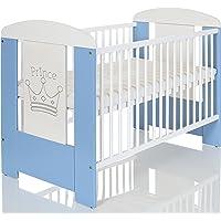 Lit Bebe 120x60 cm Blanc avec Matelas | Regable Niveaux du Base | 3 Barreaux Amoviable; Prince Bleu