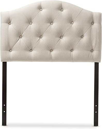 Baxton Studio Marcelon Modern and Contemporary Light Beige Fabric Upholstered Button Tufted Scalloped Headboard