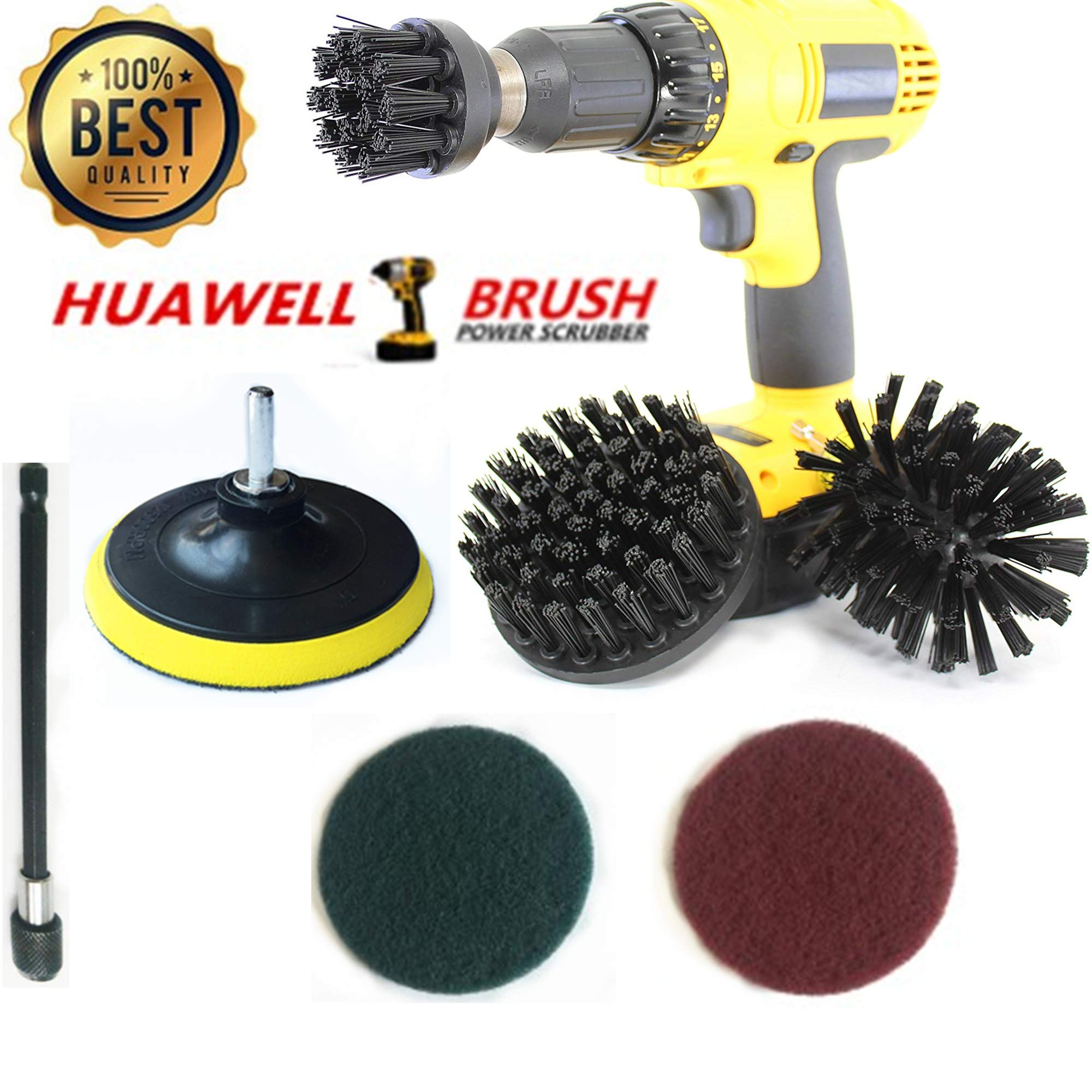 7 Piece Drill Scrub Kit Drill Brush Set with 6 Inch Extender - Industrial Brush - Baked on Food Remover - Electric Smoker - Smokers and Grills - Drill Brush - BBQ Cleaning Kit - Rust Remover