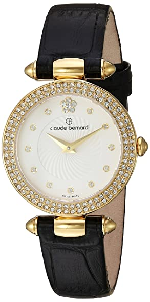 Claude Bernard Women's Swiss Quartz Gold-Tone and Leather Dress Watch,  Color:Black