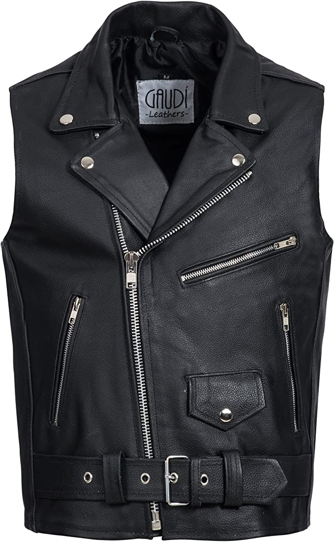 Gaudi-Leathers Herren Motorrad Lederweste Bikerweste Motorradweste Weste Kutte schwarz E500