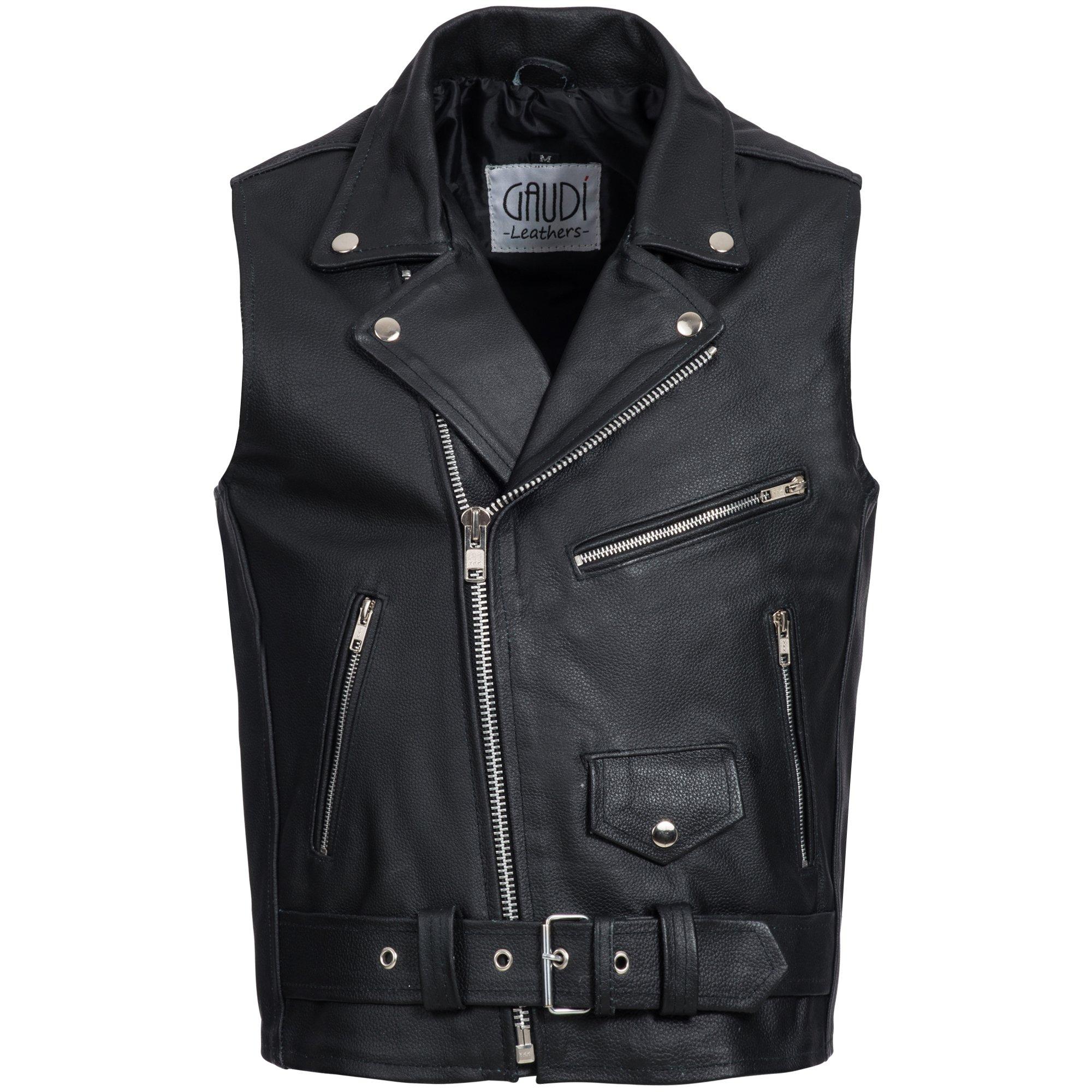Gaudi-leathers Mens Leather Waistcoat Motorcycle Motorbike Chopper Biker Vest Brando Style in Black S by Gaudi-leathers