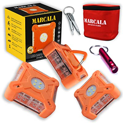 MARCALA 2020 Roadside Safety Discs | The Only Complete LED Road Flare Kit w/a Whistle! | DOT Compliant LED Safety Flare Kit w/Batteries installed, Carry-Case and 3 Bonuses | Feel safer on the road!: Automotive [5Bkhe1512691]