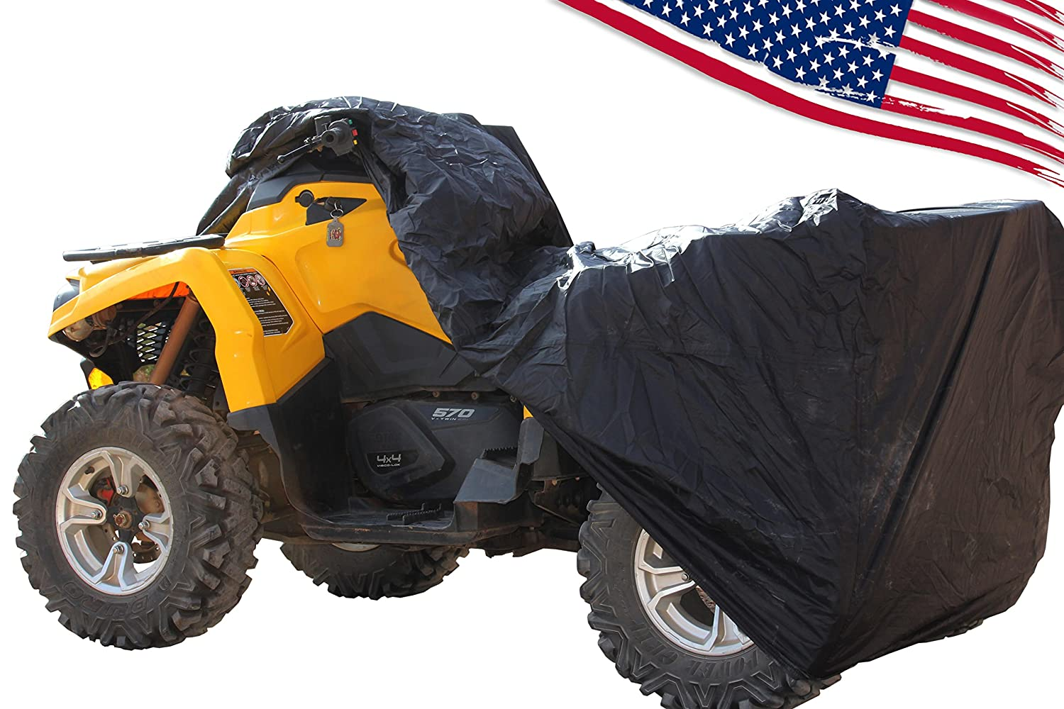 Rhino 4 wheeler ATV Cover - WATERPROOF, WINDPROOF 190T TAPED seams with WIND STRAPS. See list of Quads for sizing in description. Works as LAWNMOWER cover, too. Size LARGE Be Legend 4350347228