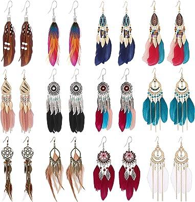 1 Pair Bohemian Stars Drop Earrings Long Tassel Dangle Earring For Women
