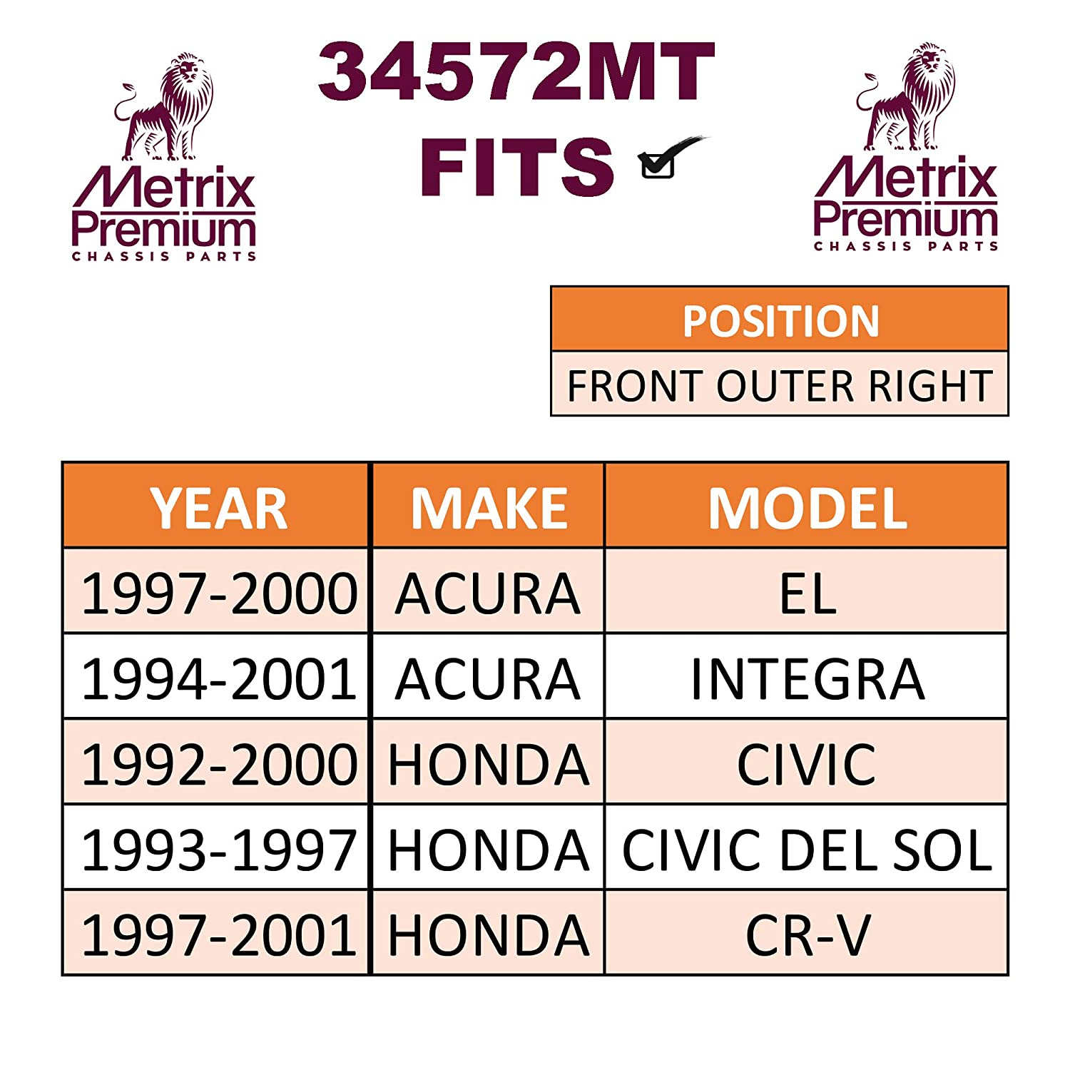 1997-2000 Acura EL ES3331R 1994-2001 Acura INTEGRA For 1992-2000 Honda CIVIC Made in TURKEY METRIX PREMIUM 34572MT Front Right Outer Tie Rod End 1997-2001 Honda CR-V