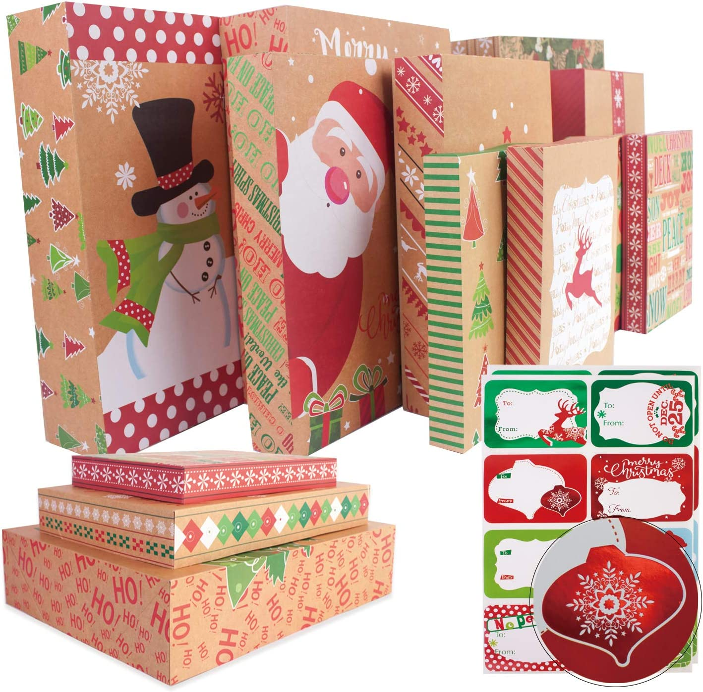 12 Kraft Christmas Gift Boxes with Lids for wrapping Large Clothes and 80 Count Foil Christmas Tag Stickers (Assorted size for wrapping Robes,Sweater, Coat Shirts and Clothes xmas Holiday Present)