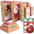 12 Kraft Christmas Gift Boxes with Lids for wrapping Large Clothes and 80 Count Foil Christmas Tag Stickers (Assorted size fo