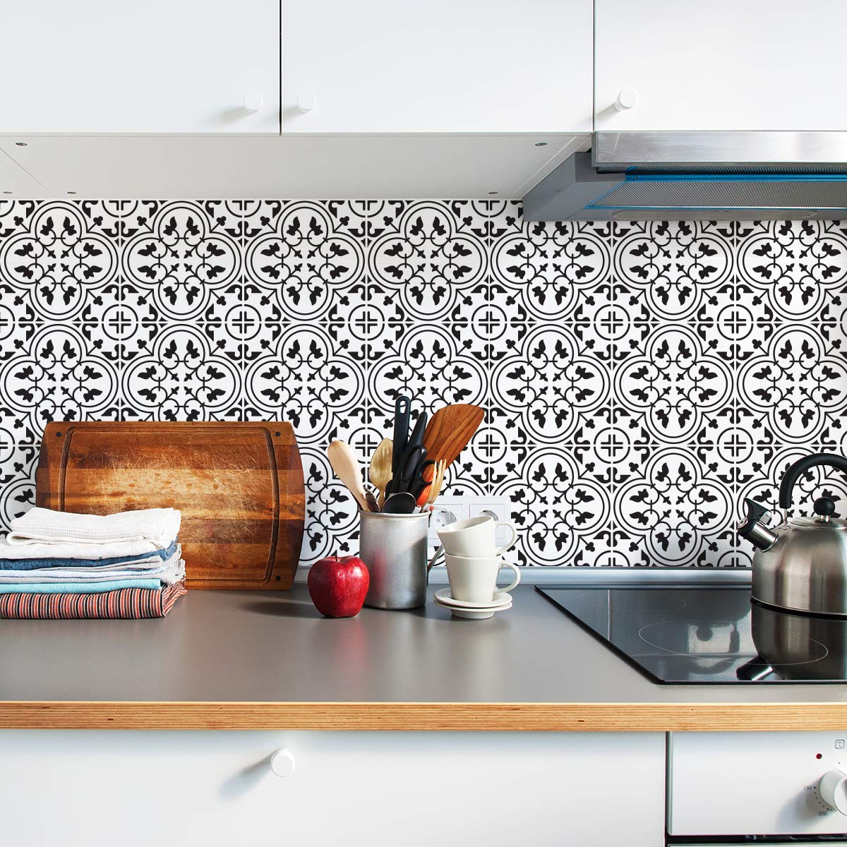 Sirface Moroccan Monochrome Tile Decals - Tile Stickers Set for Kitchen and Bathroom - PACK OF 24 - Different (6x6 inches | 15x15 cm)