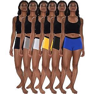 43d41dfe5fc0 Sexy Basics - Braguitas de Calzones Cortas para Mujer, Paquete de 6 ...