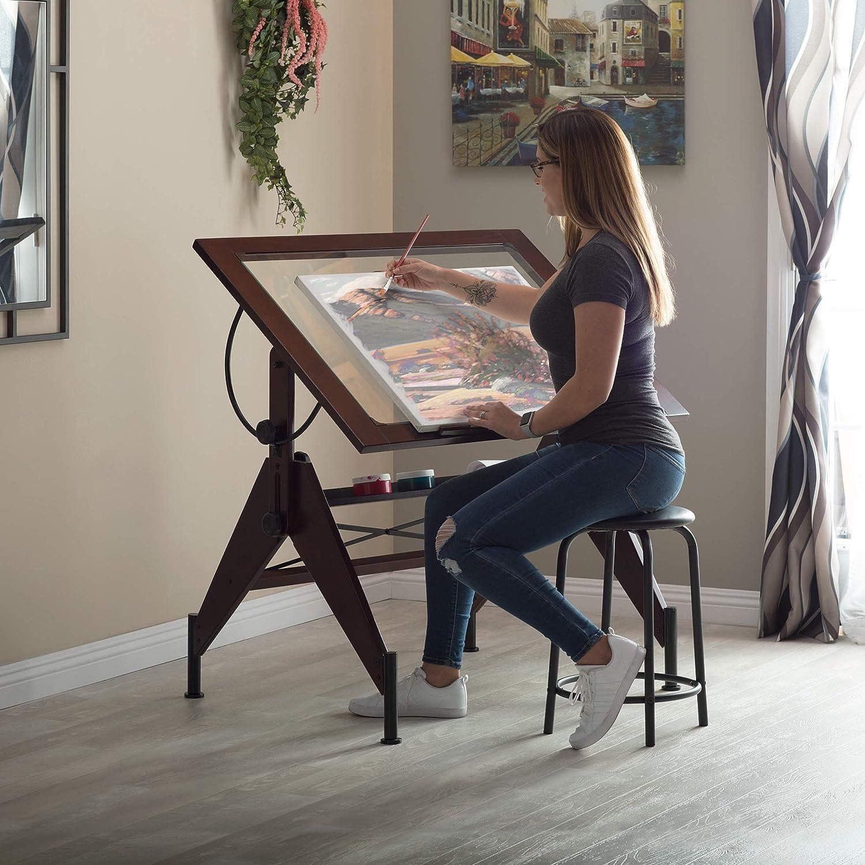 STUDIO DESIGNS Aries Glass Top Drafting Table Sonoma Dark Walnut Brown//Clear Gla