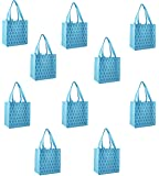 ReBagMe (TM) Set of 10 Large Reusable Grocery Bag Totes with Extra Reinforced Handles Sewn to the Bottom - With Loop for Grocery Stores - Includes Insert on Bottom of Bag for Extra Support (10, Blue)