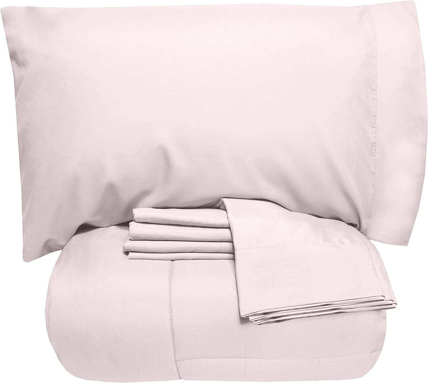 Sweet Home Collection 7 Piece Comforter Set Bag Solid Color All Season Soft Down Alternative Blanket & Luxurious Microfiber Bed Sheets, Full, Pale Pink