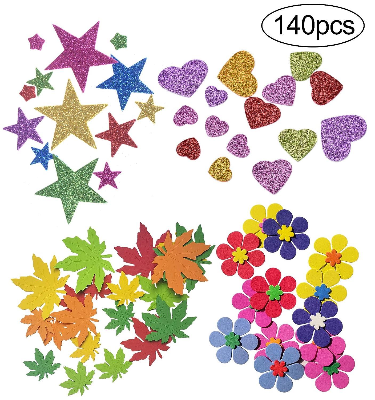 InnoBase Pegatinas de espuma Purpurina Stickers Autoadhesiva de Estrellas Flores de Fieltro Corazones Hojas de arce Adornos Artesanales para Niños Manualidades, Tarjetas de felicitación, Decoración del hogar, Colores Variados, 140 Piezas