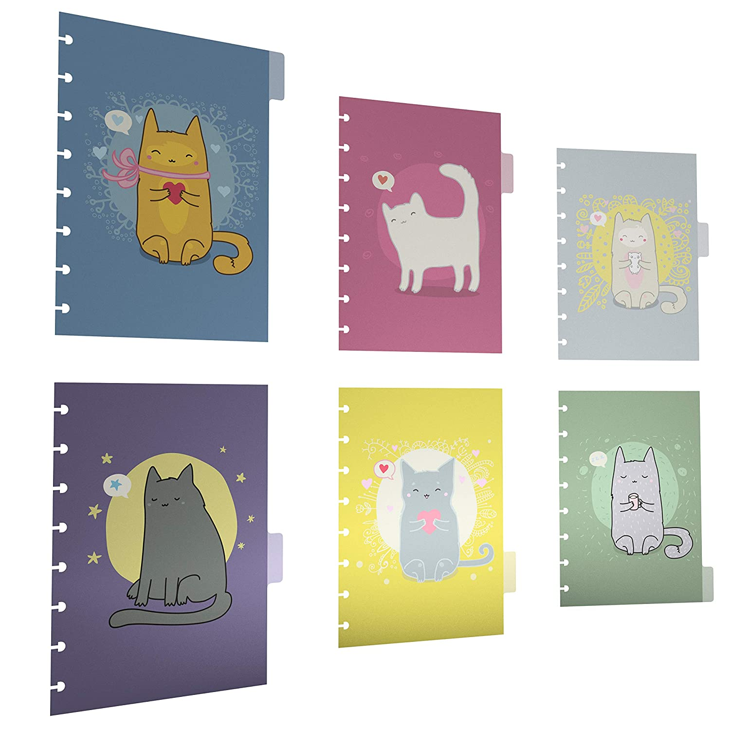 Discagenda 6 Section Dividers Plastic Durable Cute Kitten Cat for 6 Ring Planner Personal Organizer A5 // Junior Size 5.8x8.3in , Discbound