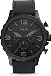 FOSSIL Nate / Montre chronographe homme avec grand cadran et bracelet en cuir épais noir - Boîte de rangement et pile incluses