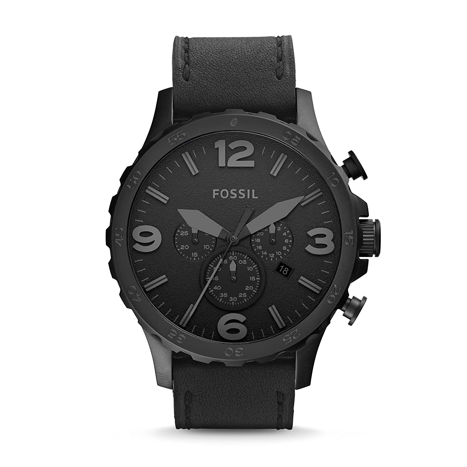 3b1f51e861ab Amazon.com  Fossil Men s Nate Quartz Stainless Steel and Leather  Chronograph Watch