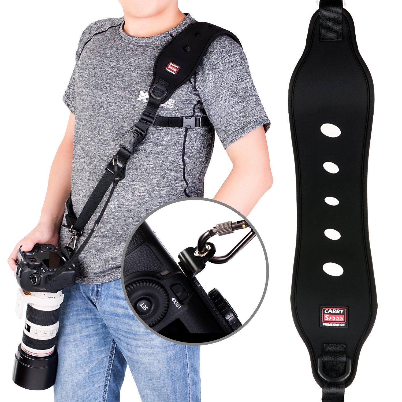 Coolway® profesional de acción rápida correa de hombro para cámara con el clip de liberación rápida w/ función de seguridad w/ sistema de bloqueo rápido con hasta 15 kg (negro) KEWEI-0429