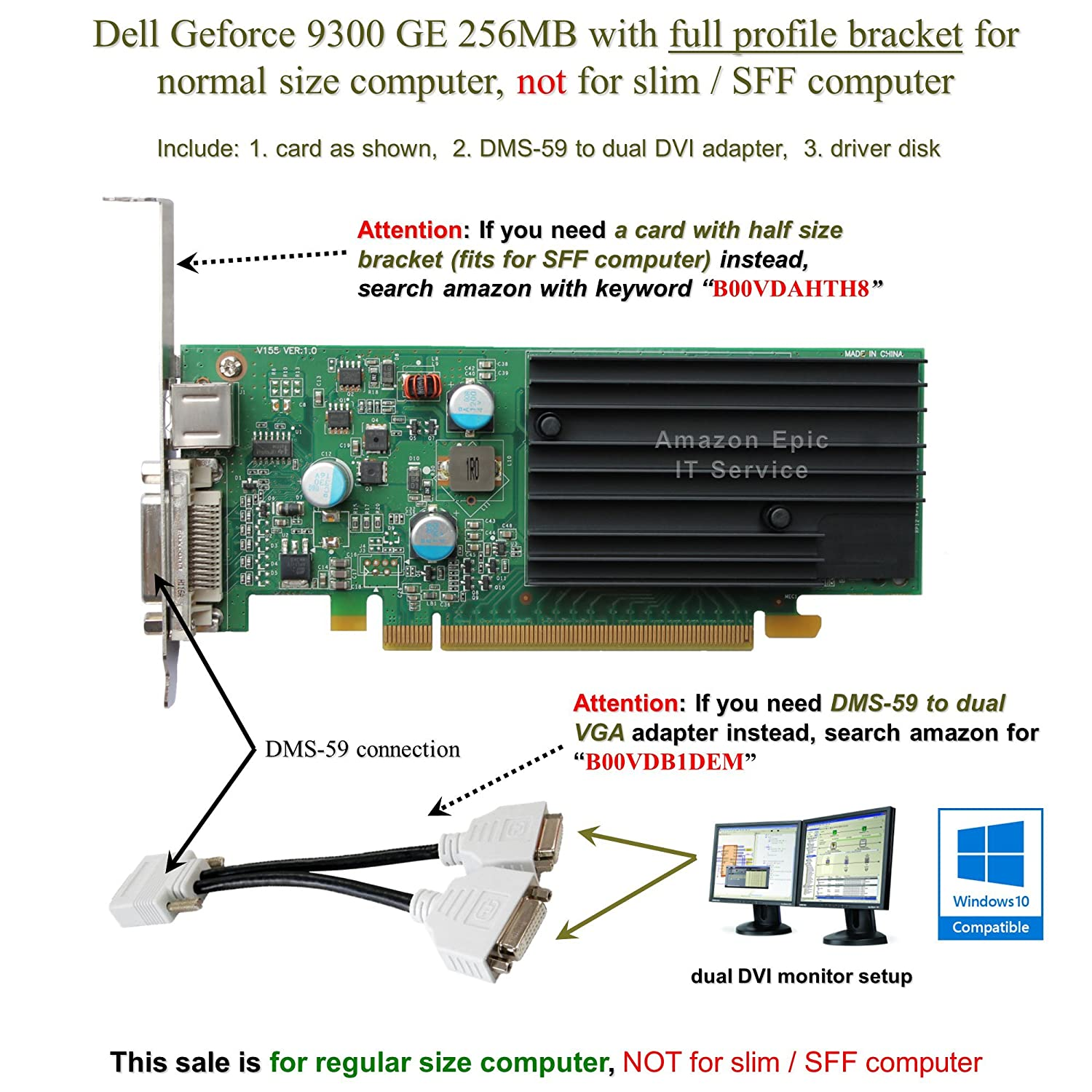 Amazon.com: Epic IT Service - Dell 9300 GE for dual monitor setup (full  size bracket, DMS-59 to dual DVI adapter): Computers & Accessories