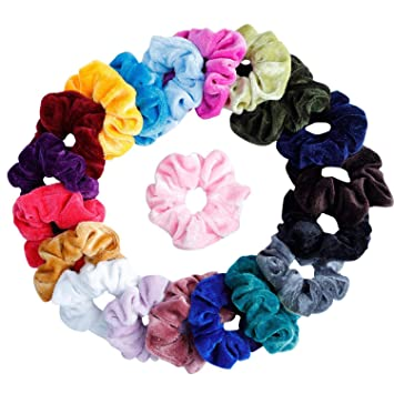20 Pcs Hair Scrunchies Velvet Elastic Hair Bands Scrunchy Hair Ties Ropes  Scrunchie for Women or Girls Hair Accessories - 20 Assorted Colors  Scrunchies ... 71ab0bc6347