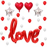 READY TO FIESTA Globos Love Rojos [25 piezas] | Globos Aniversario | Amor y Amistad | San Valentín | Letras Love + Estrella +