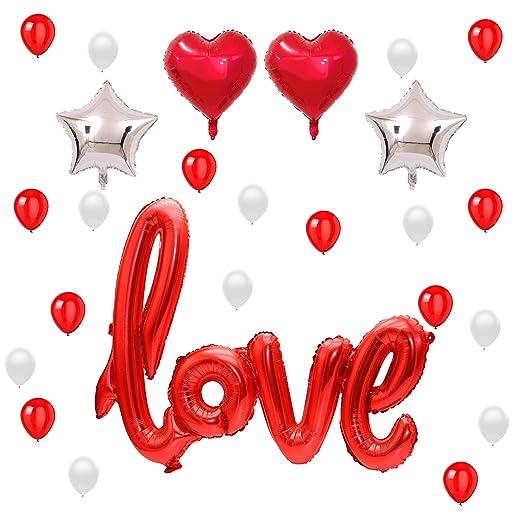 READY TO FIESTA Globos Love Rojos 25 piezas | Globos Aniversario | Amor y Amistad | San Valentín | Letras Love Estrella Corazón Rojo Globos Lá
