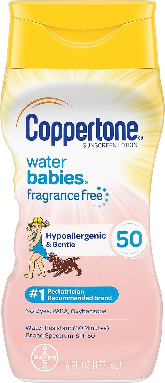 Coppertone Waterbabies日焼け止めSPF 50ピュア&シンプルな無料ローション広域スペクトル、6流体オンス