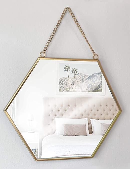 con catena Specchio con cornice in metallo GreyZook stile vintage