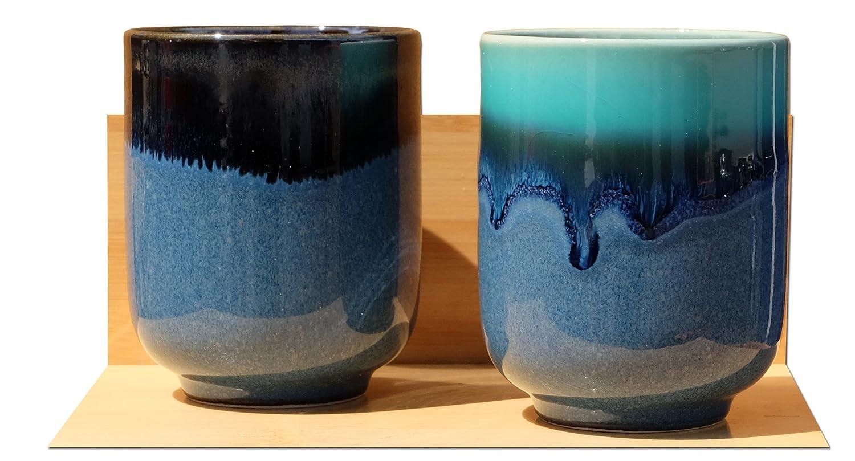 Azul Laguna tazas de t/é japon/és de cer/ámica X 2
