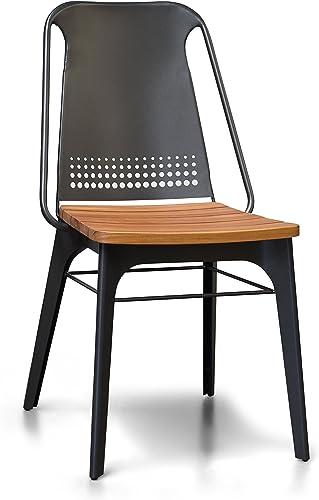 Gingko Strada Steel and Teak Patio Dining Side Chair