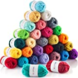 CRAFTISS 30x20g Acrylic Yarn Skeins - 1300 Yards of Soft Yarn for Crocheting and Knitting Craft Project, Assorted Starter Cro