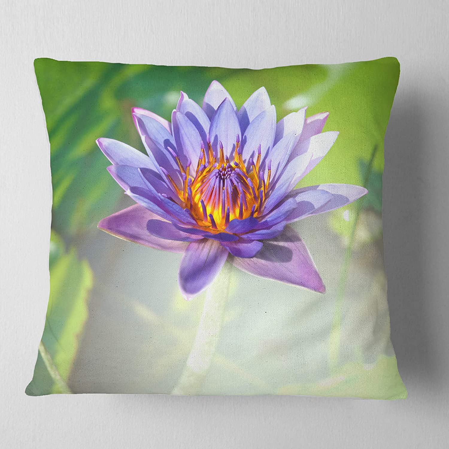 Designart CU12486-26-26 Huge Purple Lotus on Green Background Flower Cushion Cover for Living Room in Sofa Throw Pillow 26 in x 26 in