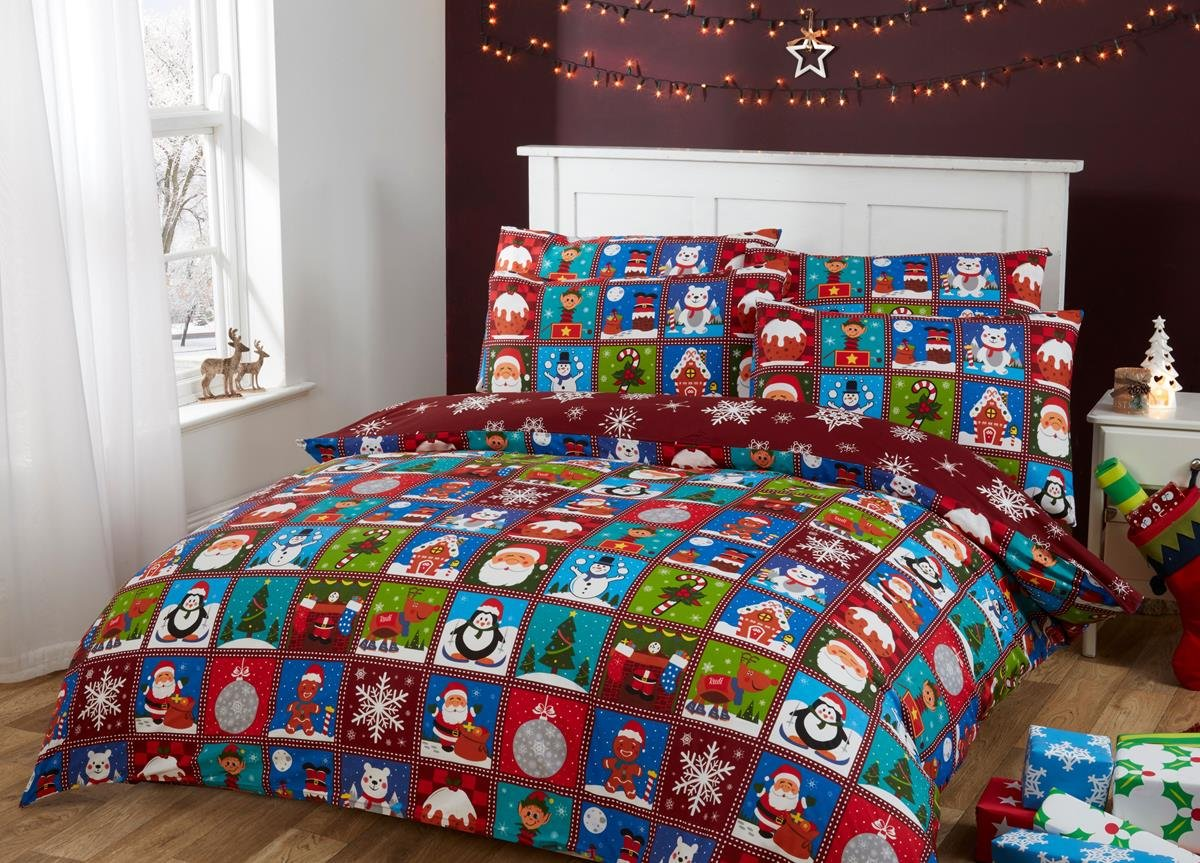 100% Cotton Christmas Bed Toddler Junior Bed Duvet Cover Set Red Patchwork Design Santa Claus Elf Rudolph Gingerbread Man Penguin Polar Bear with Snowflake Reverse (Junior (120x150cm) + 1 Pillowcase (42x60cm)) Novelux