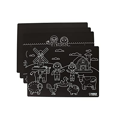 Imagination Starters Reusable Washable 12 x 17 Chalkboard Placemats- Draw, Color, Doodle - Great Gift - Fun Creative Kids Toy for Home or On the Go- Set of 4 (Variety): Toys & Games