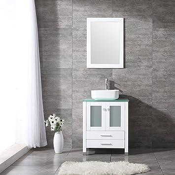 BATHJOY 24 Inches Bathroom Vanity Set Wood Cabinet Top Square Ceramic  Vessel Sink Combo Faucet Drain