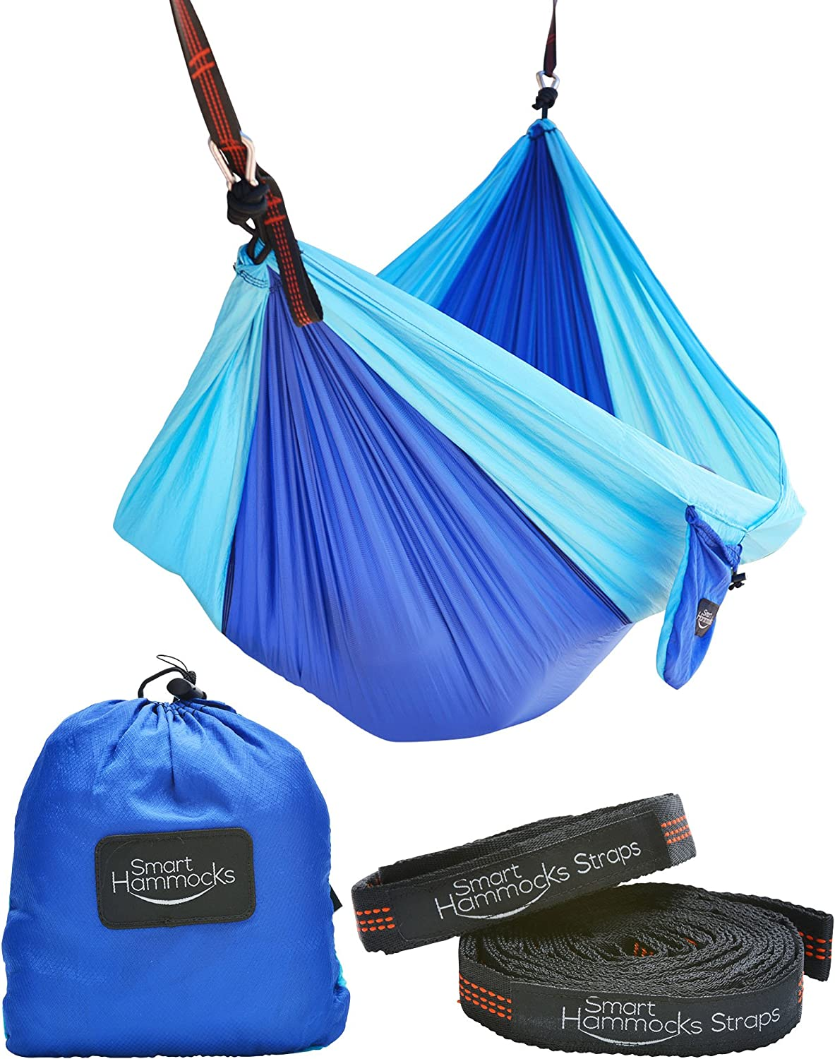 Smart Hammocks Camping Hammock Plus Double Hanging Suspension Tree Straps and Carabiners Portable Parachute Folding Light Weight Gear – Great for Hiking, Backpacking, Kayaking, Indoor and Outdoor