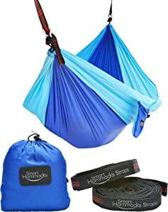 Smart Hammocks – Camping Hammock Plus Double Hanging Suspension Tree Straps and Carabiners – Portable Parachute Folding Light Weight Gear - Great for Hiking, Backpacking, Kayaking, Indoor and Outdoor